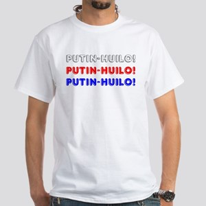 Putin Khuilo Russian Flag White T-Shirt