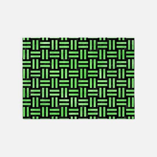 WOVEN1 BLACK MARBLE & GREEN WATERCO 5'x7'Area Rug