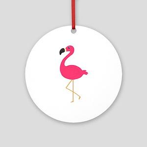 Cute Pink Flamingo Ornament (Round)