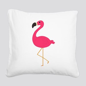 Cute Pink Flamingo Square Canvas Pillow