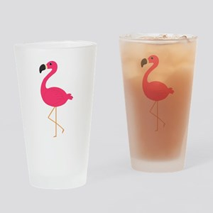 Cute Pink Flamingo Drinking Glass