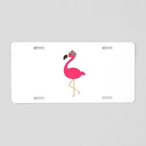 Hat Wearing Flamingo Aluminum License Plate