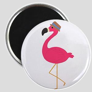 Hat Wearing Flamingo Magnets