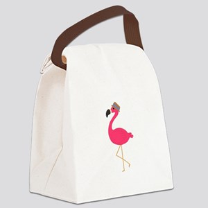 Hat Wearing Flamingo Canvas Lunch Bag