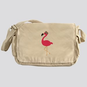 Hat Wearing Flamingo Messenger Bag