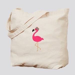 Hat Wearing Flamingo Tote Bag