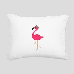 Hat Wearing Flamingo Rectangular Canvas Pillow