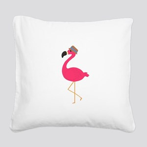 Hat Wearing Flamingo Square Canvas Pillow