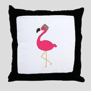 Hat Wearing Flamingo Throw Pillow
