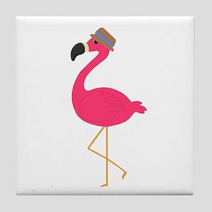 Hat Wearing Flamingo Tile Coaster