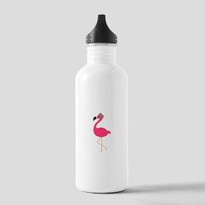 Hat Wearing Flamingo Water Bottle