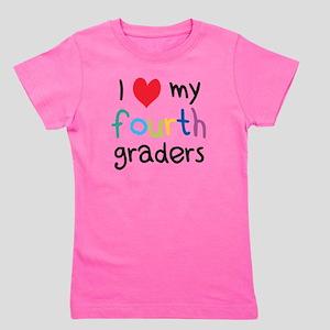 I Heart My Fourth Graders Teacher Love Girl's Tee