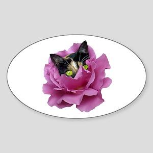 Rose Cat Sticker (Oval)