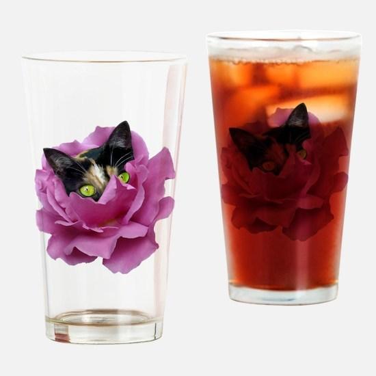 Rose Cat Drinking Glass