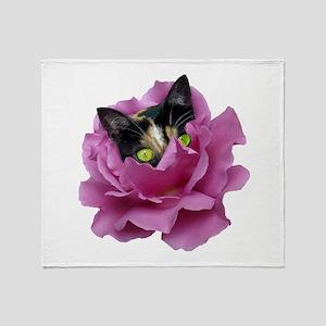 Rose Cat Throw Blanket