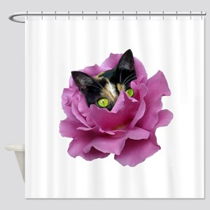 Rose Cat Shower Curtain