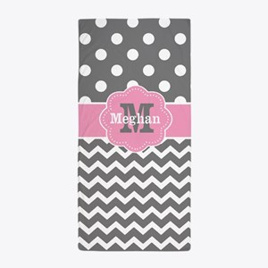 Gray Pink Chevron Dots Personalized Beach Towel