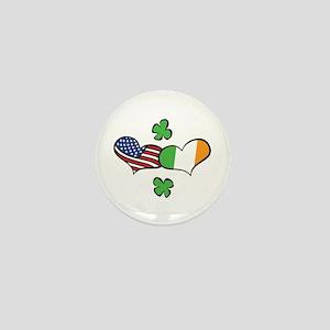 American Irish Hearts Mini Button