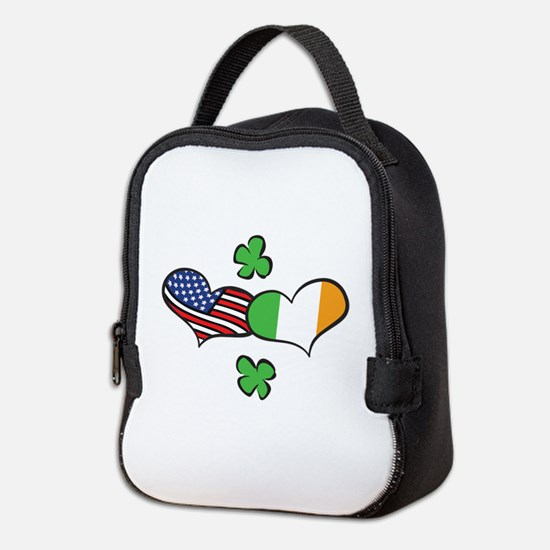 American Irish Hearts Neoprene Lunch Bag