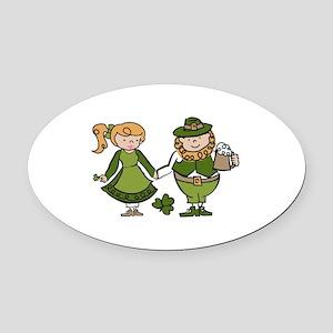 Irish Couple Oval Car Magnet