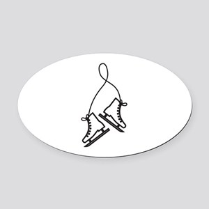 Ice Skates Oval Car Magnet