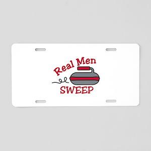 Real Men Sweep Aluminum License Plate