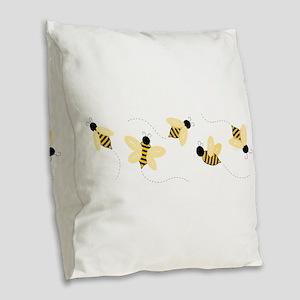 Bumble Bees Burlap Throw Pillow