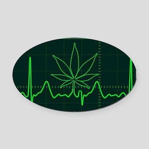 Canna Heartbeat Oval Car Magnet