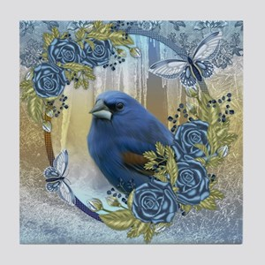 Bluebird And Ice Winter Lace & Roses Tile Coas