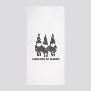 Chillin with my gnomies Beach Towel