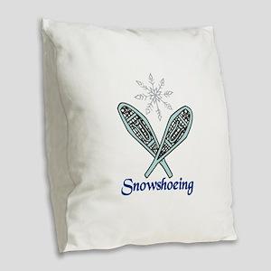 Snowshoeing Burlap Throw Pillow