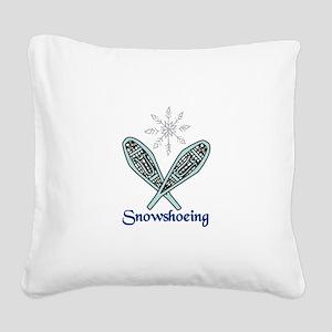 Snowshoeing Square Canvas Pillow