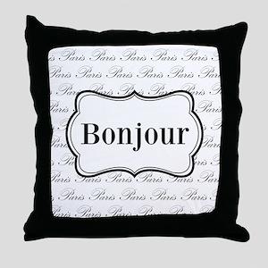 Bonjour Paris Black and White Throw Pillow