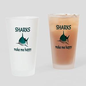 Shark Happy Drinking Glass