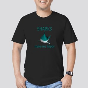 Shark Happy Men's Fitted T-Shirt (dark)