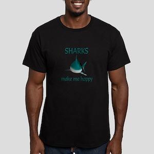 Shark Happy Men's Fitted T-Shirt (dark)