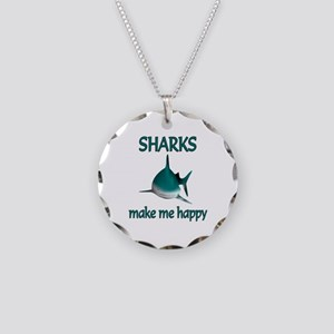 Shark Happy Necklace Circle Charm