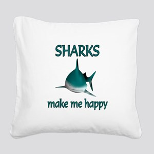 Shark Happy Square Canvas Pillow