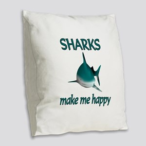 Shark Happy Burlap Throw Pillow
