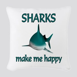 Shark Happy Woven Throw Pillow