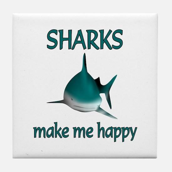 Shark Happy Tile Coaster