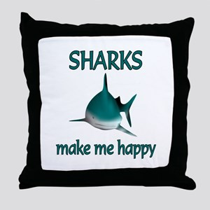 Shark Happy Throw Pillow