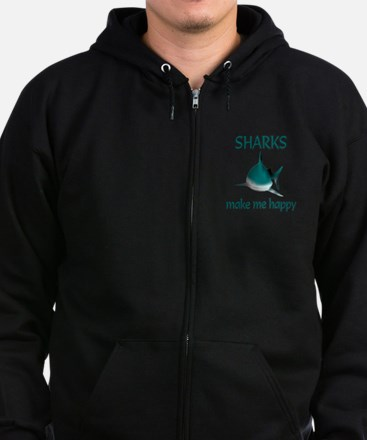 Shark Happy Zip Hoodie (dark)