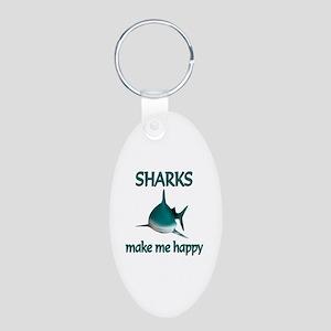 Shark Happy Aluminum Oval Keychain