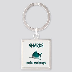 Shark Happy Square Keychain