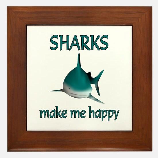 Shark Happy Framed Tile