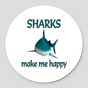 Shark Happy Round Car Magnet