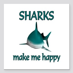 "Shark Happy Square Car Magnet 3"" x 3"""