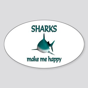 Shark Happy Sticker (Oval)