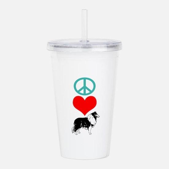 Peace Love Collie Acrylic Double-wall Tumbler
